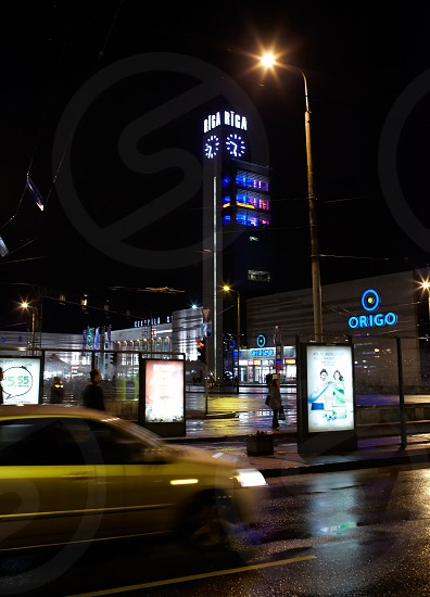 RIGA LATVIA - OCTOBER 11: The Riga central railway station at night October 11 2012 in Riga Latvia. photo