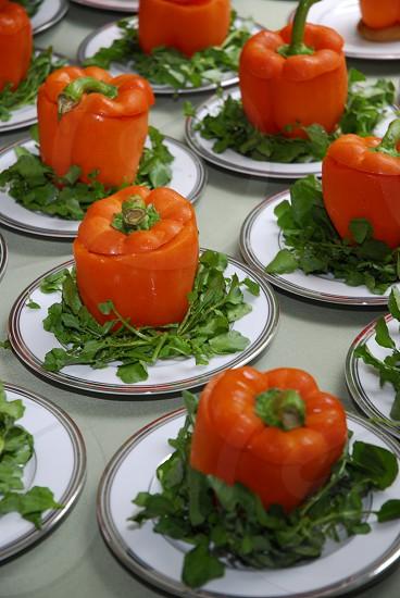 Vegan orange peppers  photo