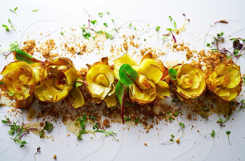 Artichoke roses with truffle and honey vinaigrette photo