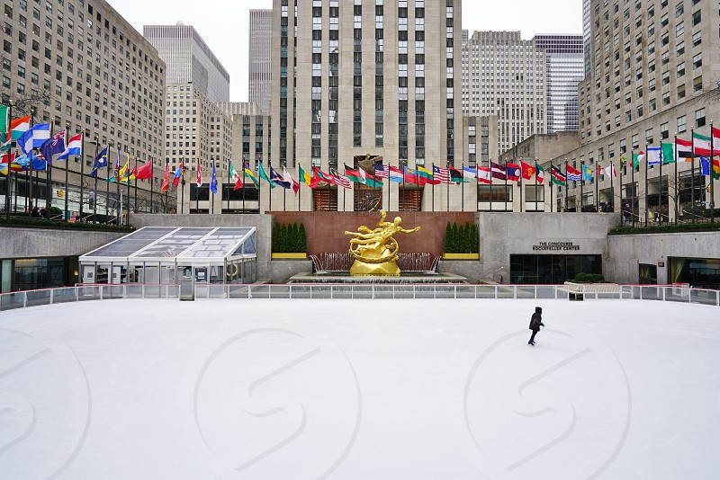 The ice-skating rink at Rockefeller Center in New York City photo