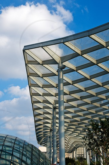 Shanghai new bund puxi architectural dettail view of futuristic roof photo