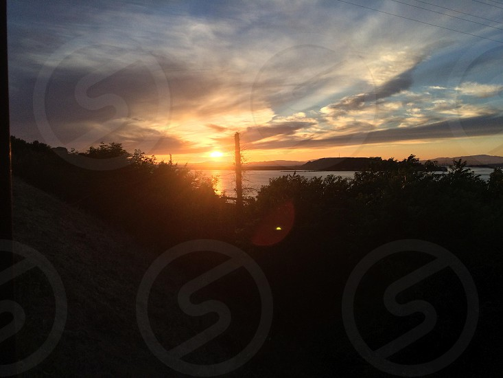 Sunset off the Carquinez Straits in Northern California Bay Area.  photo
