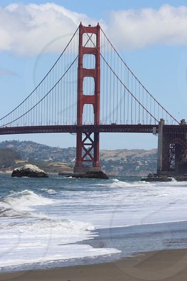 photo of Golden Gate Bridge near beach photo