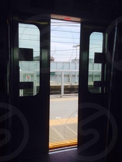 metal opened train doors photo