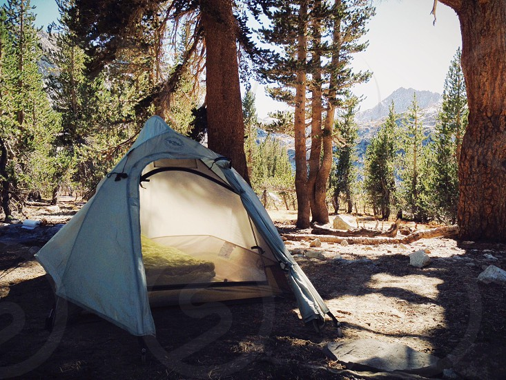 white tent in the forest photo