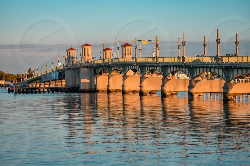 St. Augustine Florida. January 26  2019. Illuminated Bridge of Lions on sunset background  in Florida's Historic Coast. photo