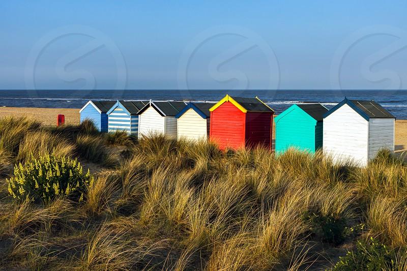 Colourful Beach Huts on Southwold Beach Suffolk photo