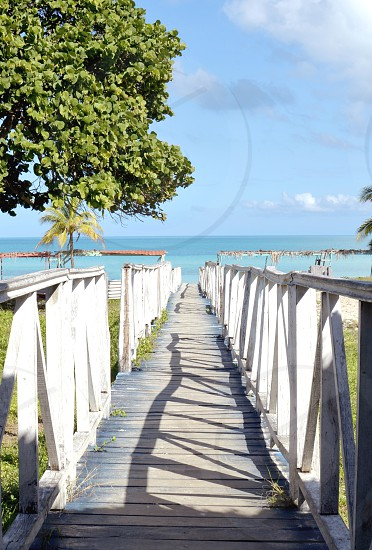 Way to the beach wooden walkway to a tropical beach in Cayo Coco Cuba photo