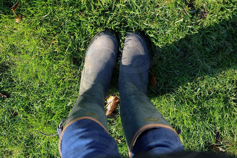 Wellington boots grass photo