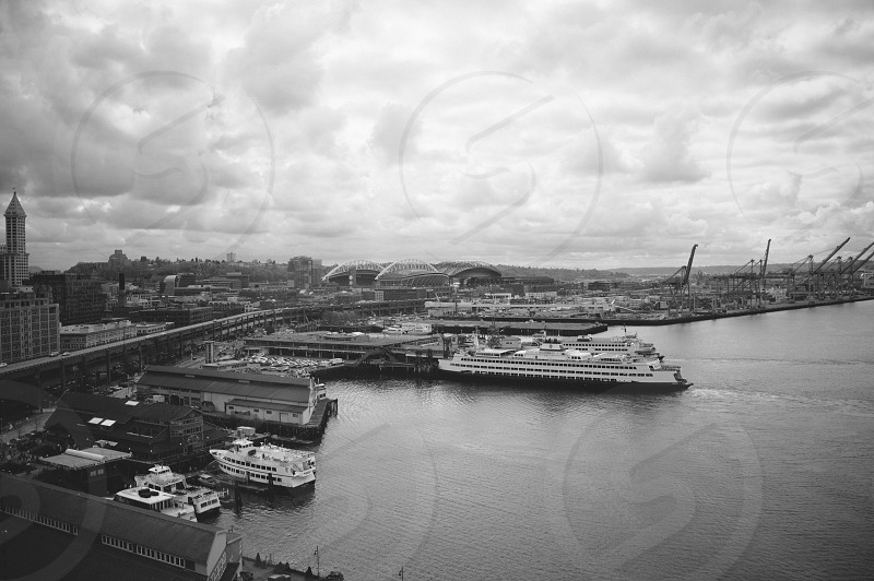Seattle SoDo skyline from the ferris wheel on  a cloudy day. photo