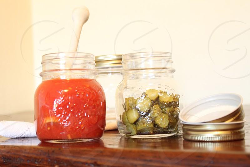 pickles on jar photo