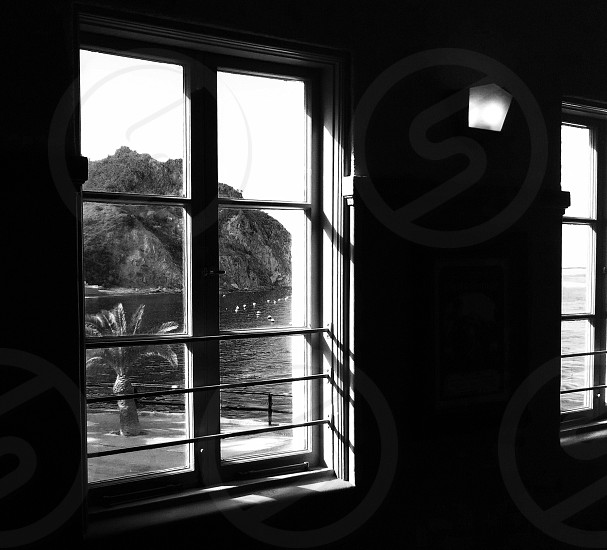Black & white view looking out window to Catalina photo