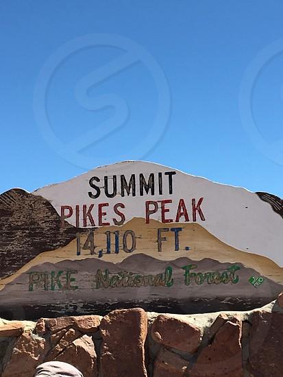Summit Pikes Peak Pike National Forest signage photo