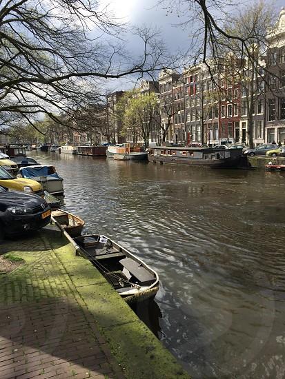 brown boat in river photo