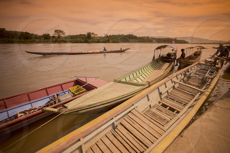 the boat pier at the landscape of the mekong river at the town of Chiang khong the north of the provinz Chiang Rai in North Thailand. photo