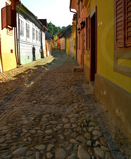Street in SighisoaraRomania photo