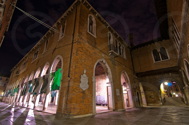 "Venice Italy ""pescheria"" fish market when closed by night photo"