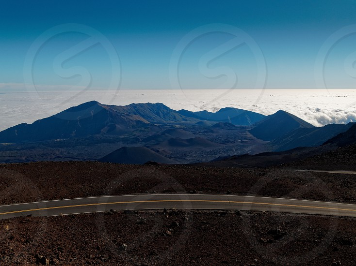 Winding road leading to Haleakala crater  photo