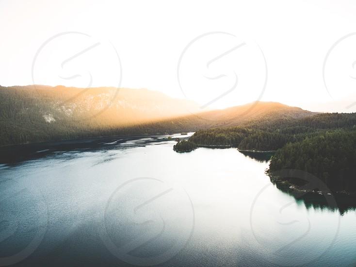 Sunset at lake eibsee photo