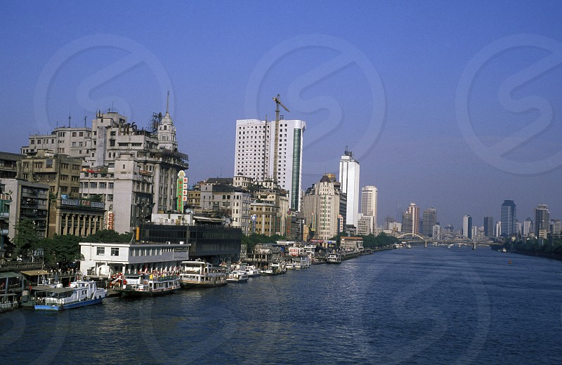 the city of Canton or Guangzhou in the north of Hongkong in the province of Guangdong in china in east asia.  photo
