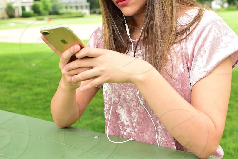 Millennial woman using technology lifestyle  photo
