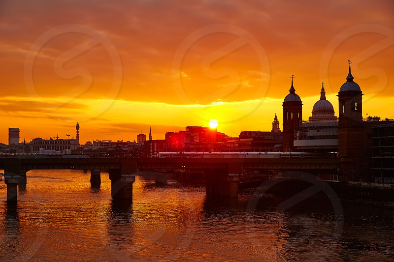 London sunset at Thames with St Paul Pauls Cathedral of England photo