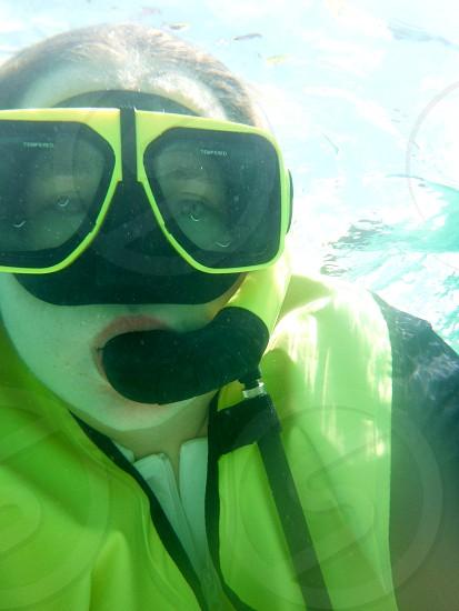 Underwater snorkeling selfie photo