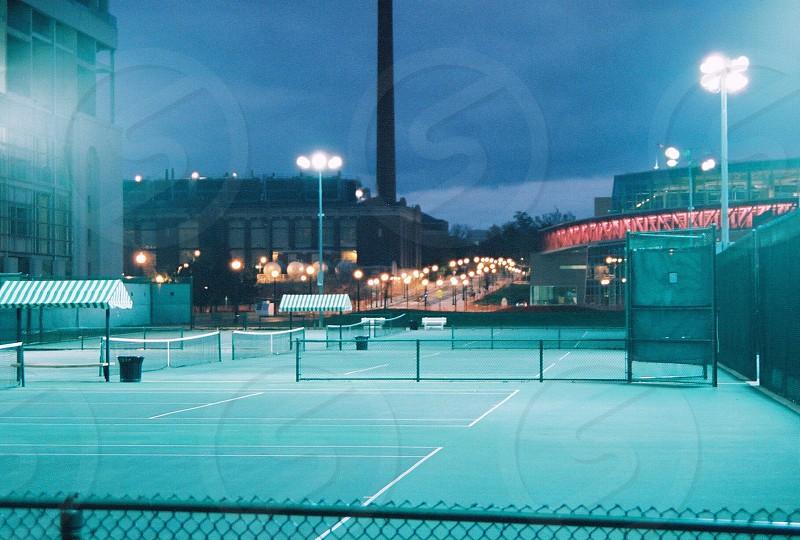 Ohio state tennis campus college night lights outdoor empty photo