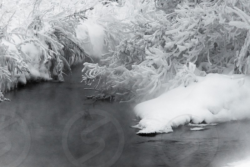 Nature of winter the vapor above the stream photo