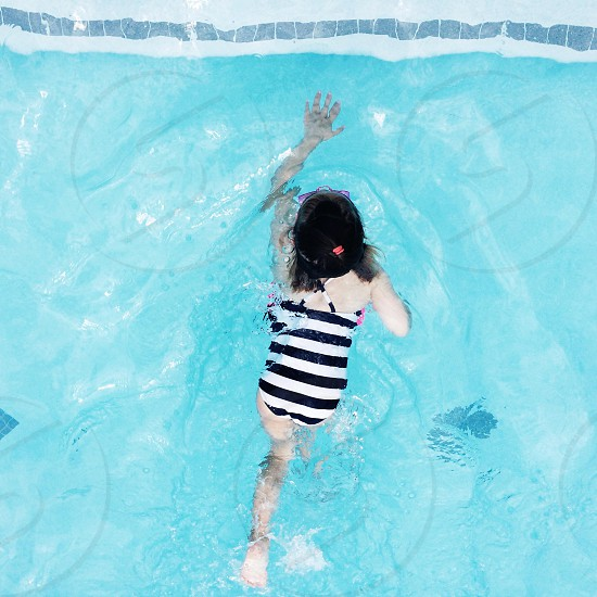 swimming Summer pool girl stripes reach photo