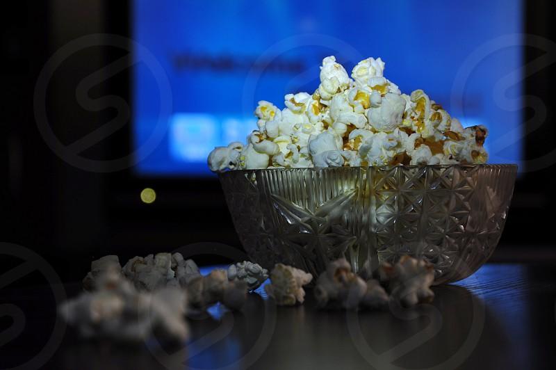 popcorn in glass bowl photo