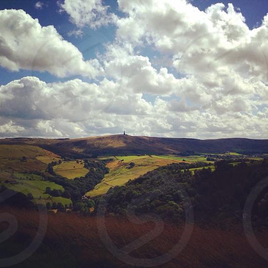 Landscape sky rolling hills sculpture Todmorden Hebden Bridge Yorkshire photo