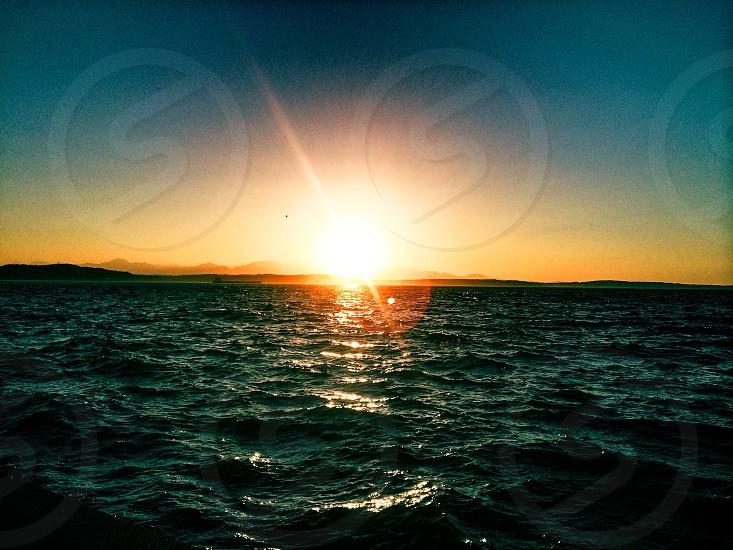 Sunset Alki beach Seattle  photo