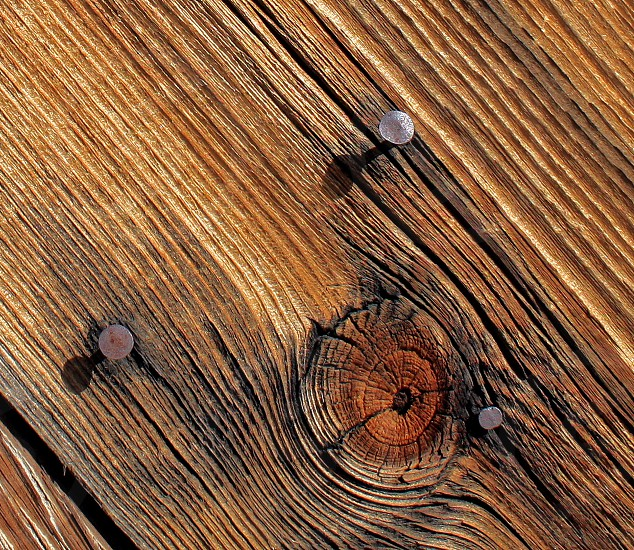 Macro of a piece of wood with a knothole and three nails. photo