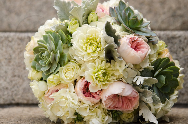 Wedding bouquet bouquet flowers succulents natural light wedding day beautiful  photo