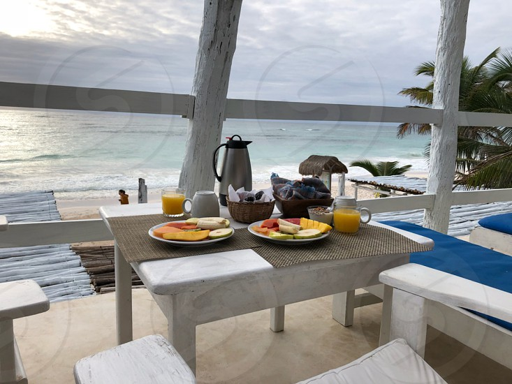 beautiful morning breakfast in a Beach resort in Mexico photo