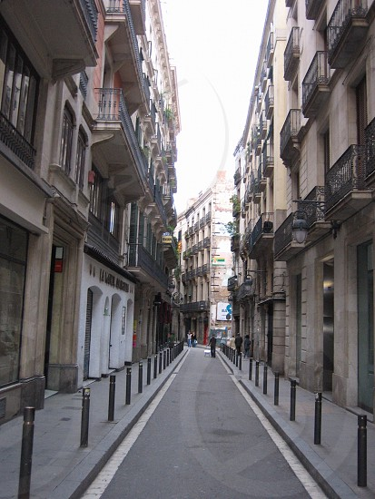 Barcelona city street gothic section photo