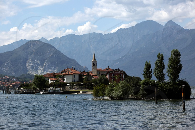 The isalnd of Isla Pescatori on the Lago maggiore in the Lombardia  in north Italy.  photo