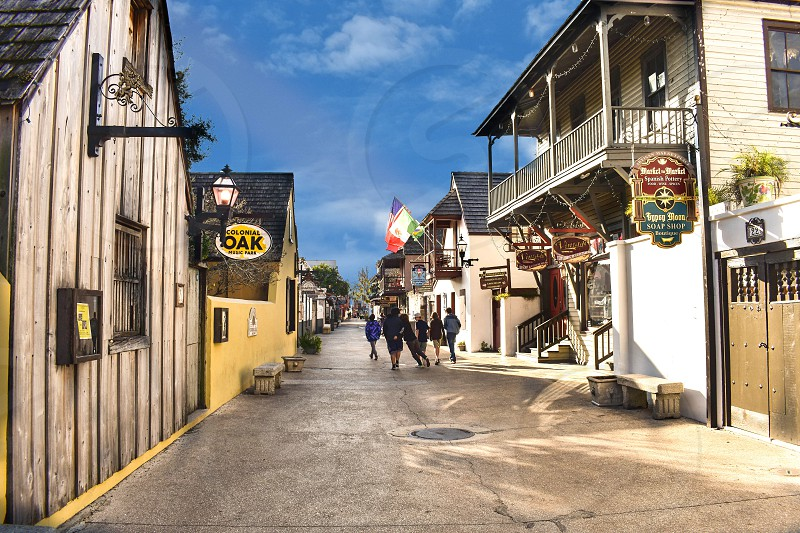 St. Augustine Florida. January 26  2019. Colorful St. George Street at Old Town in Florida's Historic Coast (5) photo