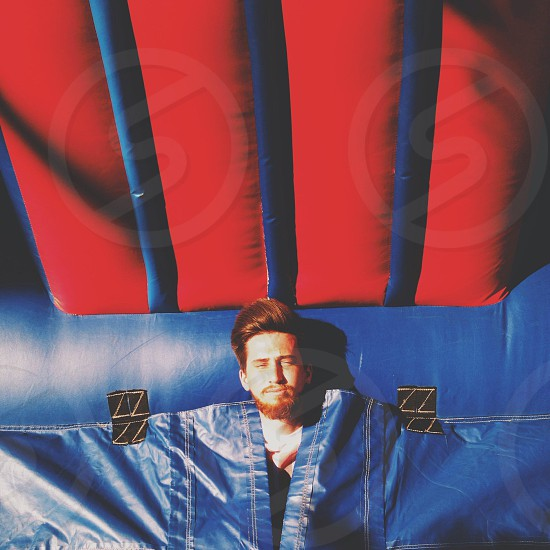 Red and blue bounce house photo