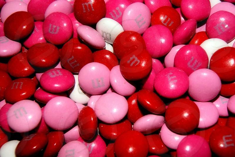 Red pink white chocolate valentines candies photo