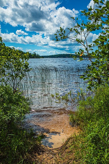 Sandy place to put your canoe or kayak on French Lake from the Chippewa campground in Quetico Provincial Park Atikokan Ontario Canada photo