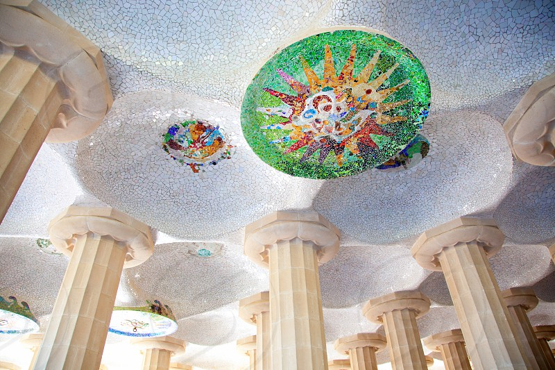 Barcelona Park Guell of Gaudi mosaic in the Hundred Columns Chamber photo