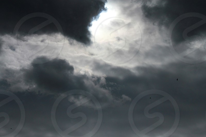 black and white clouds  photo