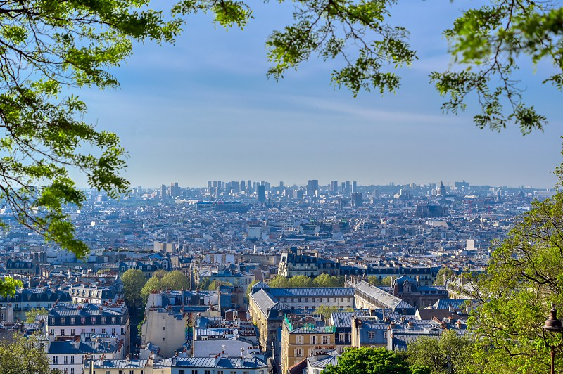 A view of Paris France from the Montmartre district.  photo