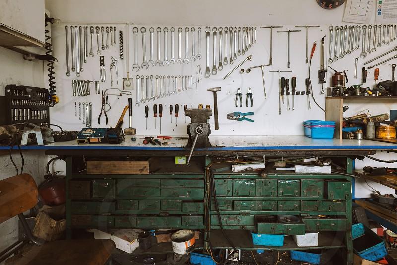 Various tools for car repair scene from workshop.  photo