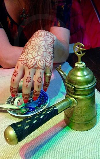 Henna art and Turkish coffee photo