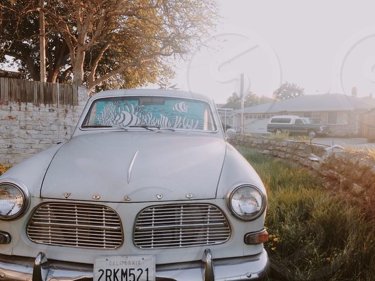 white vintage car  photo
