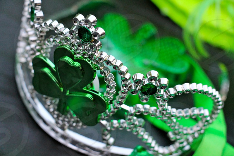 silver and green gem leaf clover tiara photo