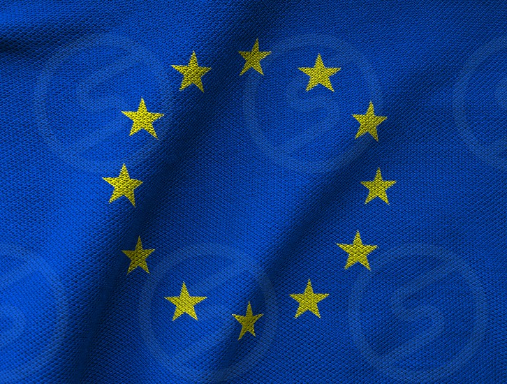 the EU flag printed on a textured Jersey knit fabric. European Union background photo